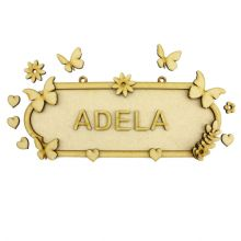 MDF Wood DIY Craft Shapes Room Door Wall YOUR NAME Sign Plaque – Butterfly